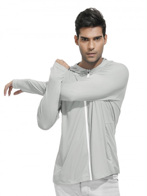 Dynamic Light Gray Side Pockets Sport Top With Zipper Ladies