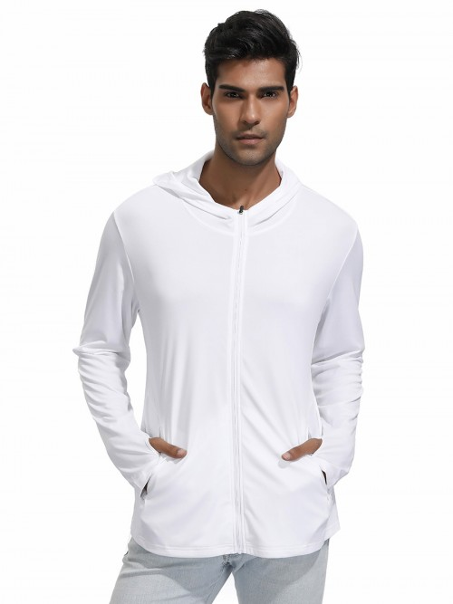 Mystic White Sport Shirt With Zipper Full Sleeves For Walking