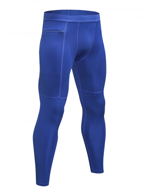 Classic Blue Athletic Leggings Solid Color Zipper Seamless