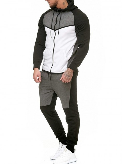 Essential White Big Size Men Sweat Suit Zipper Pocket High Elastic