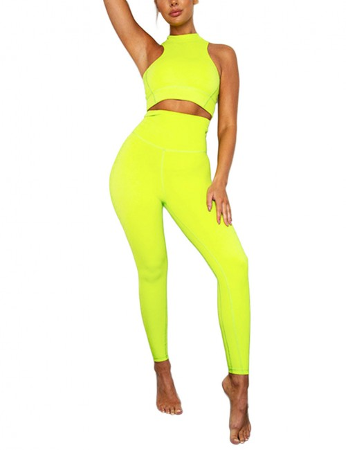 Yellow Sleevesless High Rise Zip Sports Suit Raceback Elastic Material