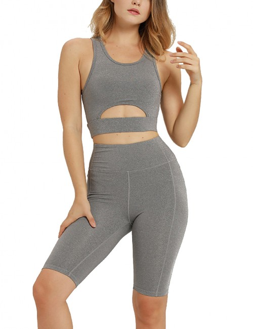 Flexible Grey Tank Top Scoop Cut Out Tight Shorts Yoga Suit Female Grace