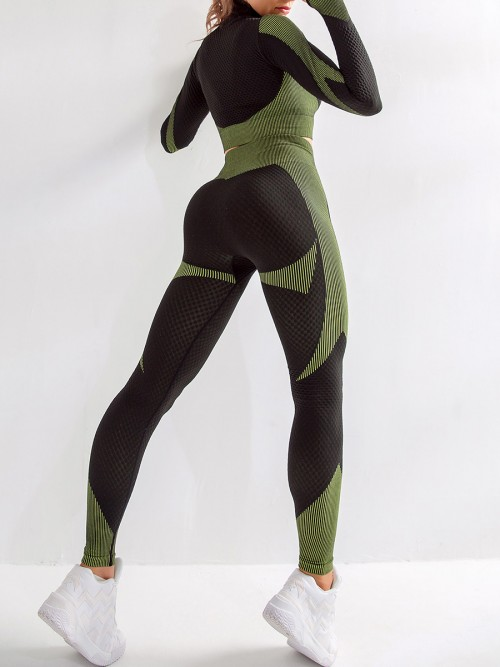 Extreme Green Zipper Patchwork Yoga Suit Thumbhole Feminine Charm