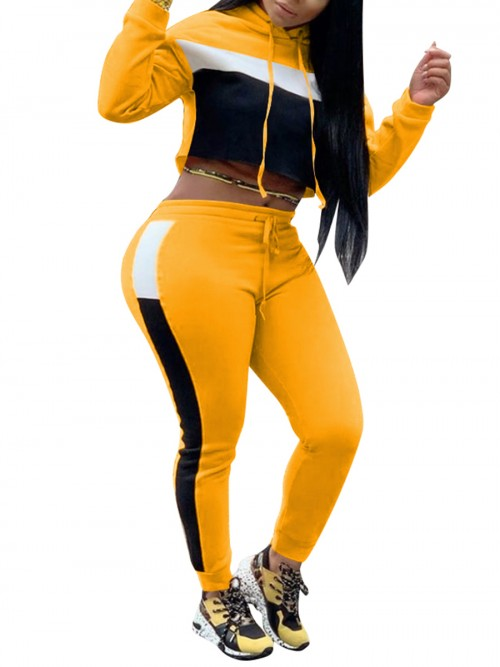 Perfectly Yellow Two Pieces Hooded Top Colorblock Pants Free Time