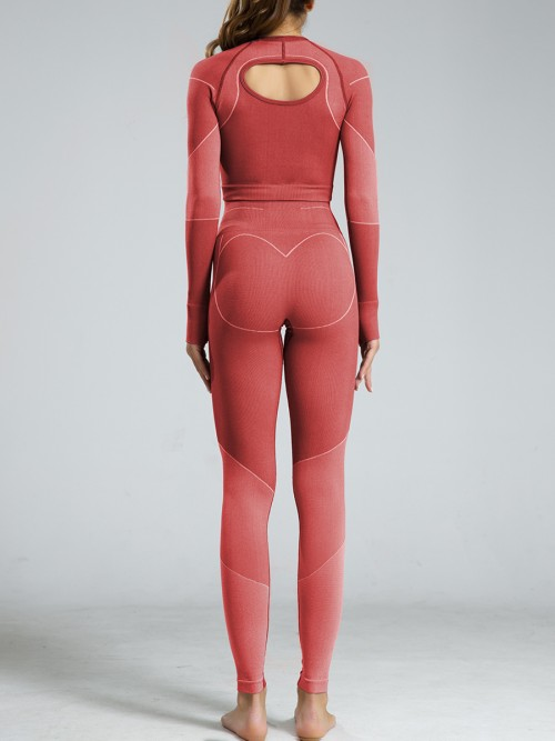 Smoothing Red Seamless Knit Sweat Suits Ankle Length Super Faddish