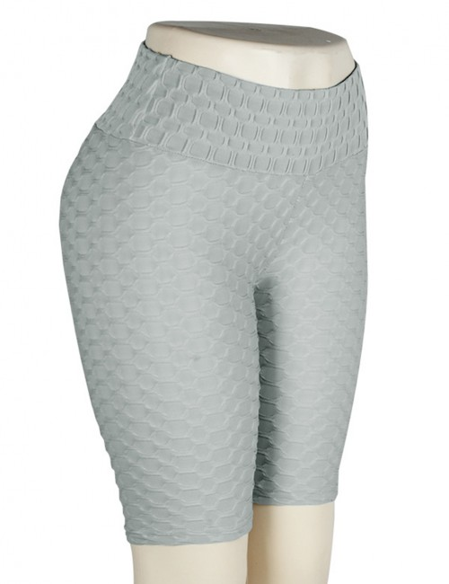 Virtuoso Gray Gym Shorts Solid Color High Rise Jacquard Comfort