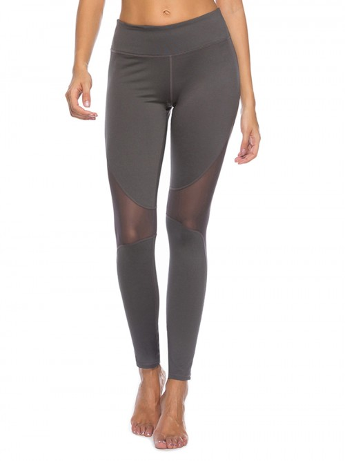Kinetic Gray Patchwork Mesh Ankle Length Yoga Leggings For Beauty