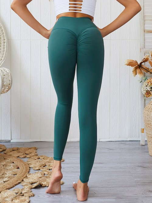 Sexy Ladies Blackish Green Sports Leggings High Rise Ruched Women's Fashion