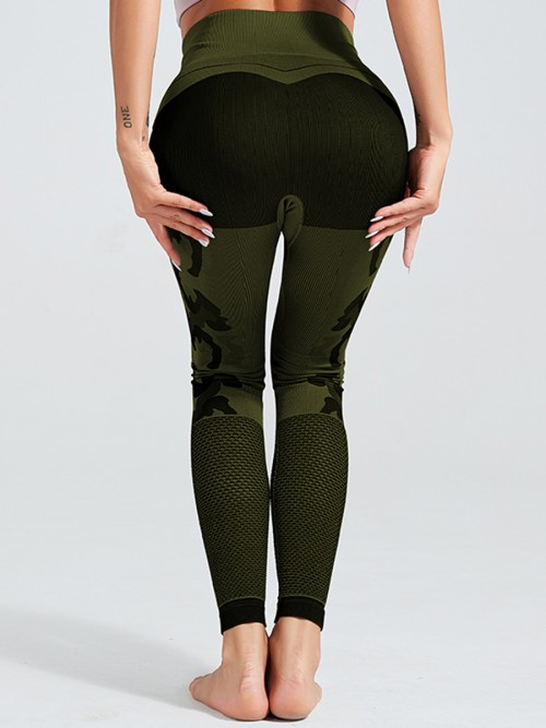 Exercise Army Green Patchwork Wide Waistband Sport Leggings