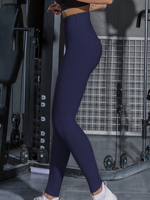 Conservative Navy Jacquard Sport Leggings Ankle Length Soft