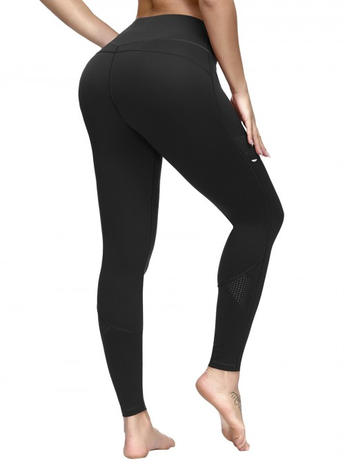 Fitted Black Reflective Print Yoga Leggings Pocket Ladies Grace