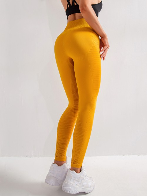 Flirty Yellow Seamless High Waist Yoga Leggings For Training