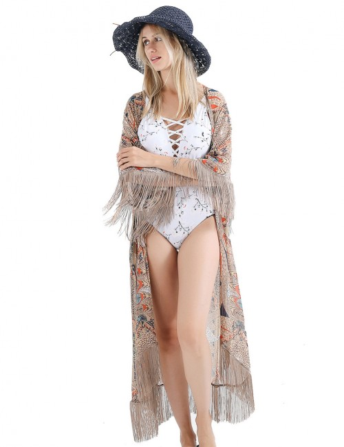 Poolside Khaki Sunscreen Printed Swimming Cover Up Fringe Womens Fashion