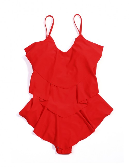 Beach Party Red Three Layers Flounce One Piece Beachwear Large