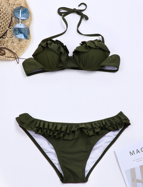 Awesome Green Frill Bathing Suits Halter Tie Fashion Forward