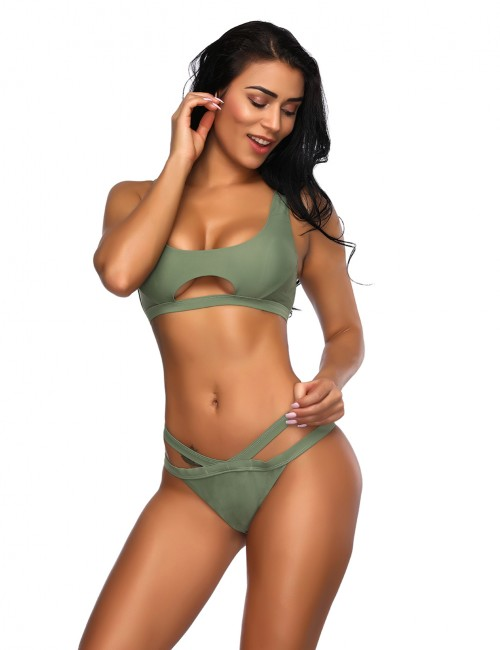 Glossy Blackish Green Low Waist Adjustable Swimsuit Hollow Out