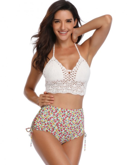 Brightly High Waist Lace Up Bikini Bottom Summer Beach Time