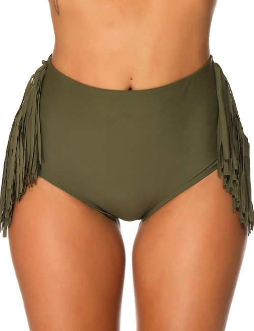 Interesting Dark Green High Waisted Bikini Bottom Tassel Leisure Time
