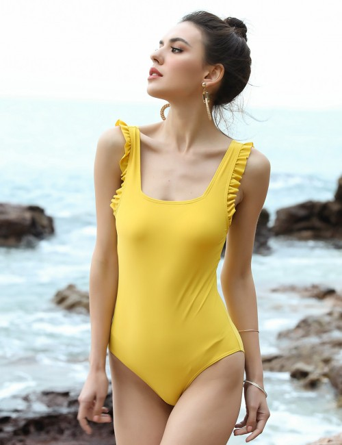 Beach Vacation Yellow One Piece Beachwear Removable Pads Wide Straps All-Match Fashion