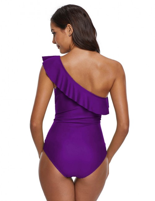 Mystic Purple Queen Size Single Shoulder Ruched Swimsuit Ruffles