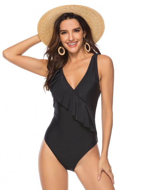 Captivating Black One Piece Swimsuit Irregular Ruffle Queen Size Pads Fashion