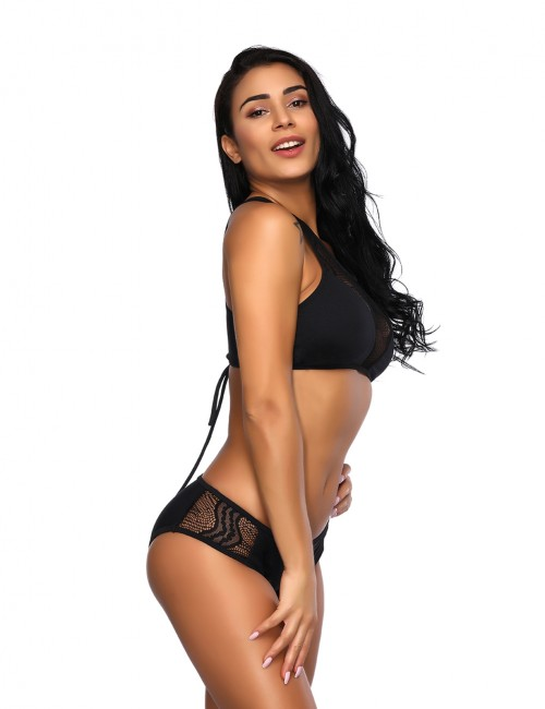 Beach Stunner Lace Mesh Black U Neck Bikini No Underwire Back Tie Online