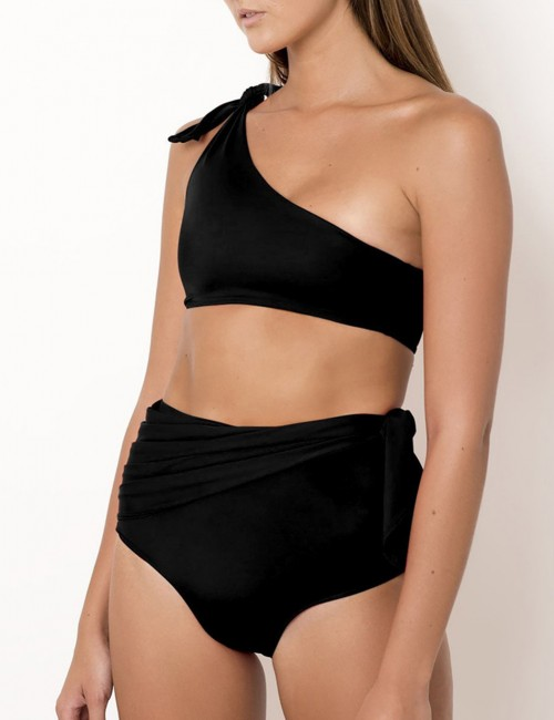 Nautically Black Solid Color Bikini Single Shoulder Bowknot Post Surgery