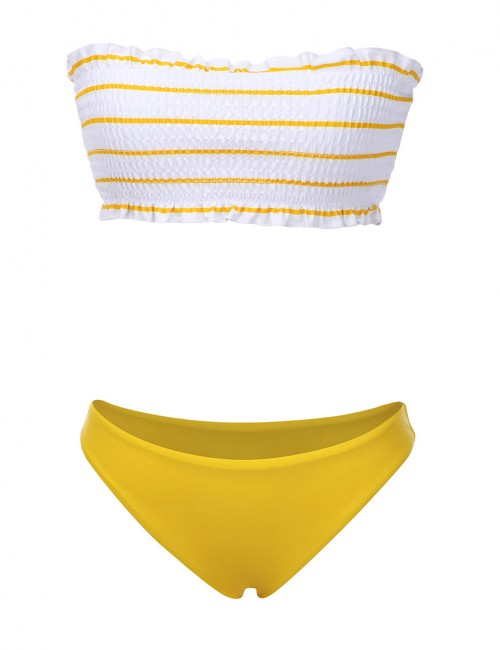 Perfectly Pinstripe Frilled Bathing Suit Two-Piece For Girls