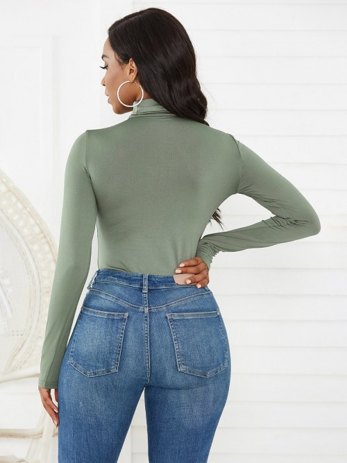 Exquisitely Green Long Sleeve High Cut Bodysuit Casual Clothes