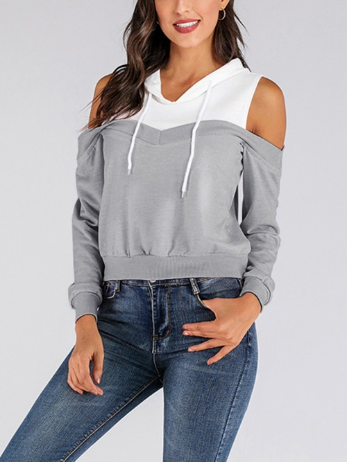Casual Gray Long Sleeve Patchwork Sweatshirt Rib Casual Clothes