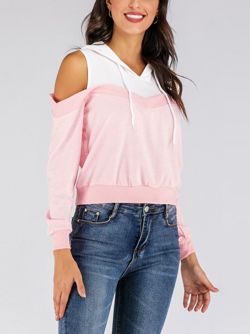 Paradise Pink Cold Shoulder Sweatshirt Hooded Neck Weekend Fashion