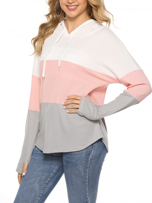 Enchanting Pink Sweatshirt Thumbhole Curved Hem Full Sleeve Girls Fashion