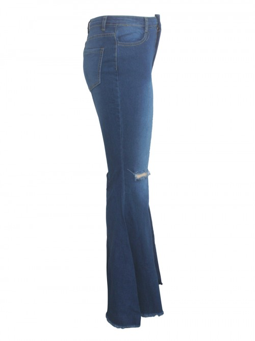 Poolside Blue Bell Bottom Pocket High Waist Jeans Casual Comfort