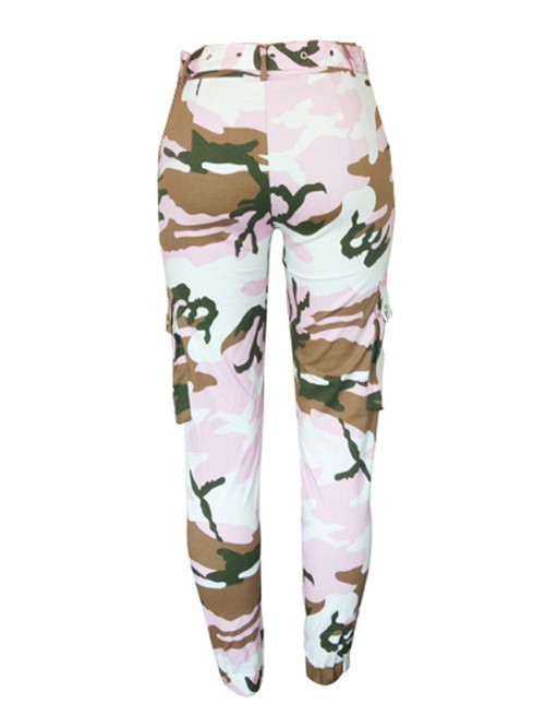 Dynamic Pockets Camo Cargo Pants With Belt Home Clothes