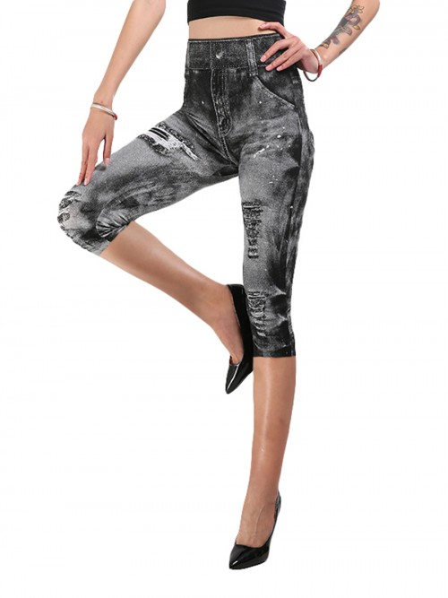 Natural Light Gray Cropped Demin Print Leggings Queen Size Newest Fashion