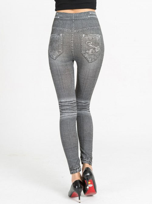 Chic Denim Paint Big Size Leggings High Rise Great Quality