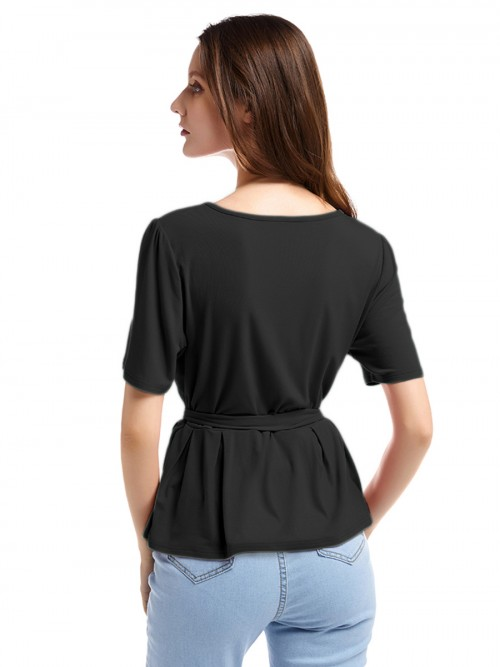 Mysterious Black Round Neck Short Sleeve Top Ruffle Women's Tops