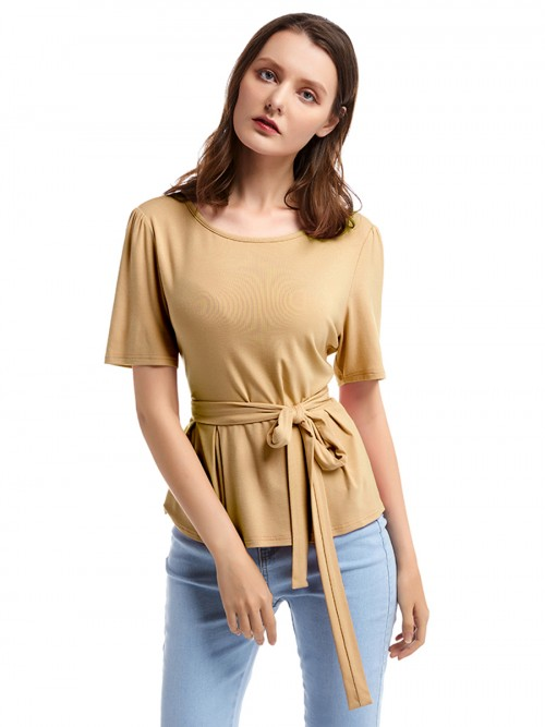 Dreamlike Orange Solid Color T-Shirt Crewneck Ruffle Lady