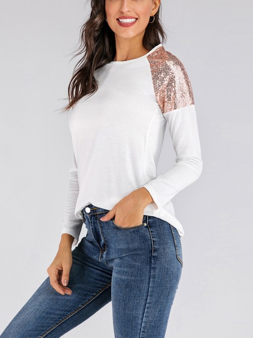 Astonishing White Raglan Sleeve Shirt Curved Hem Glamor Women