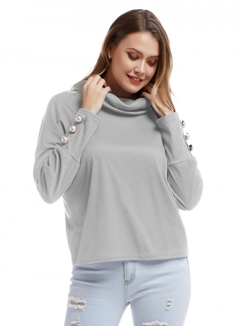 Classy Light Gray Stacked Collar Cuff Button Knit Shirt Unique Fashion