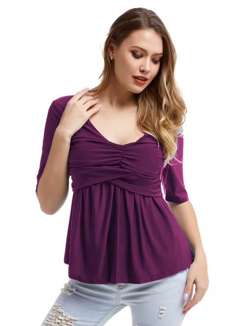 Classical Purple Ruched Big Size T-Shirt Round Neck Confidence
