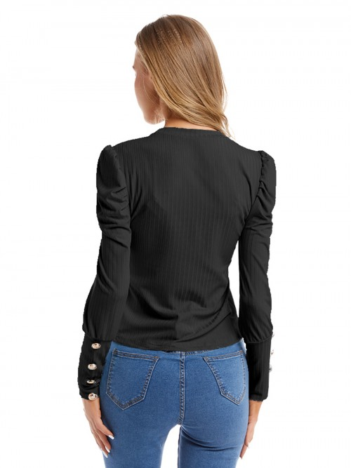 Fitness Black Puff Sleeves Shirt Round Neck Button Fashion Trend