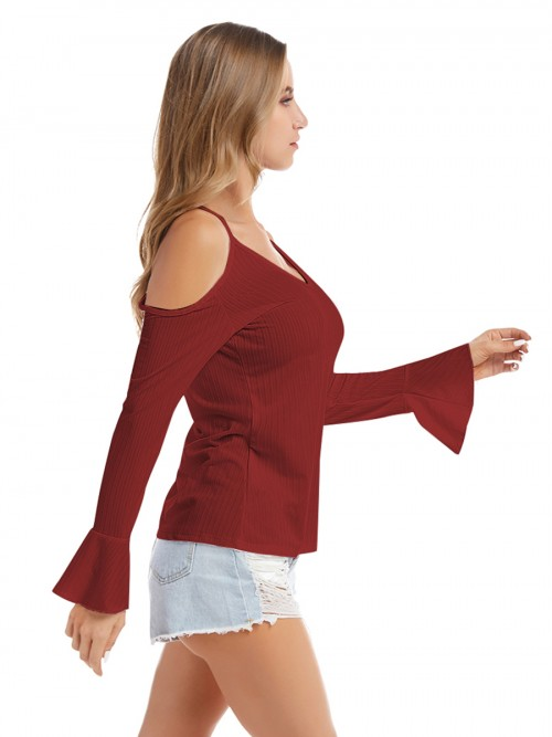 Creative Wine Red Knitted Top Queen Size Cold Shoulder For Women