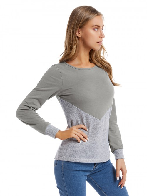 Glam Gray Big Size Shirt Colorblock Round Neck Female Charming