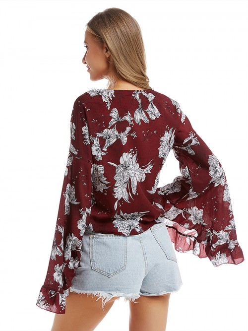 Simply Chic Red Flare Sleeve Shirt Flower Printed Breathable