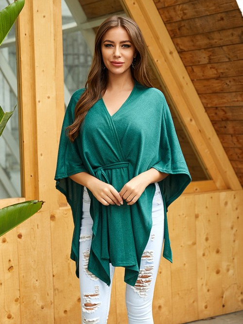 Flirty Green Solid Color Shirt Tie Cross V-Neck For Traveling