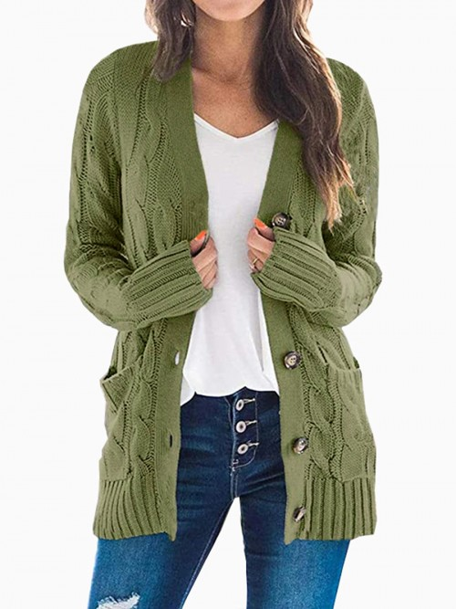 Dishy Army Green Solid Color Long Sleeve Knit Cardigan Women Outfit