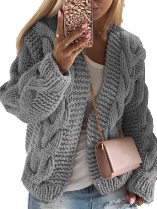 Breathable Gray Drop Shoulder Full Sleeve Knit Coat Comfort Fashion