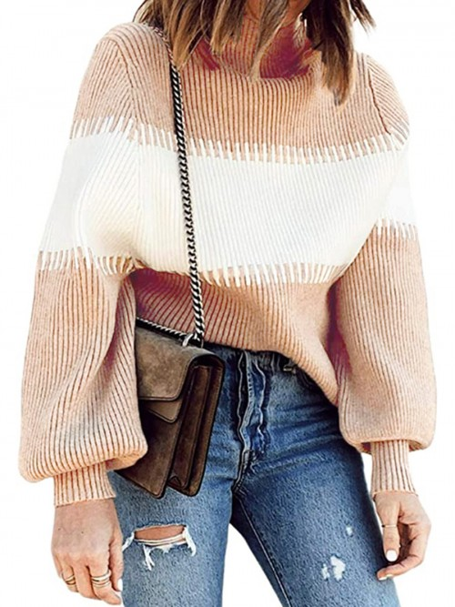 Characteristic Khaki Turtleneck Sweater Balloon Sleeves For Hanging Out
