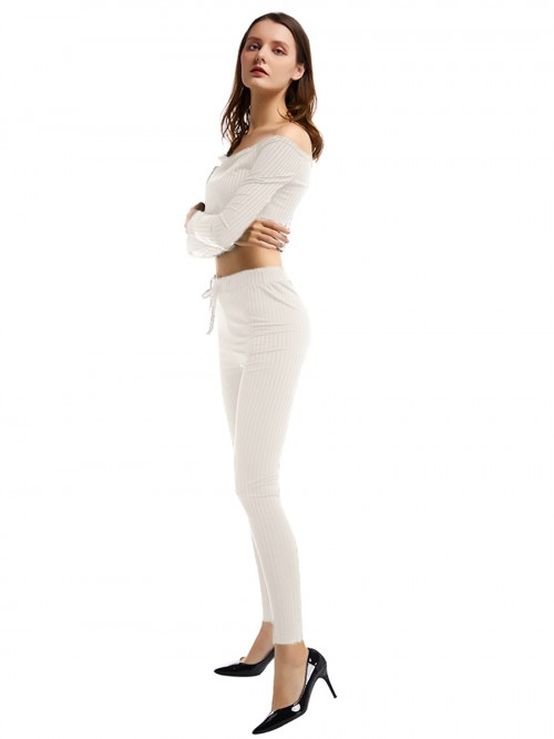 Cutie White Off Shoulder Top Full Length Pants Chic Fashion
